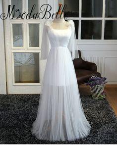 >> Click to Buy << modabelle White Evening Dresses Abendkleider Lang Elegant Lace Up Pleat Cheap Long Evening Dresses Vestido Noche #Affiliate