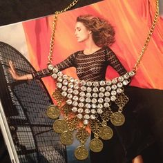 """Coin & Rhinestone Necklace Stunning Vintage Style Gold-tone Coin & Rhinestone Necklace  Length: 4"""" x 18""""  Material: Gold-tone Alloy/64 Rhinestones  Condition: New  No Trades No Holds No PayPal Jewelry Necklaces"""