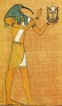 Papyrus Paintings from the Book of the Dead  Thoth, god of writing, gives the hieroglyphs for 'all life and dominion' to Osiris