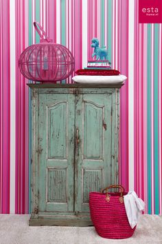 wallpaper stripes pink & turquoise, collection StripesXL ESTAhome.nl