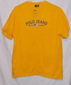 Ralph Lauren Polo Jeans Co Mens T Shirt Size XL Yellow American Flag New | eBay