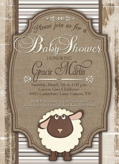 Baby Shower Invitation Little Lamb Baby Shower por GracenLDesigns
