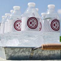 Monogrammed Quatrefoil Waterproof Water Bottle Labels
