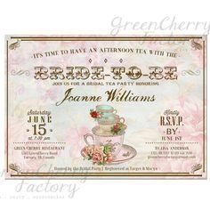 Vintage Bridal Tea Party Invitation - Afternoon Tea - Tea Party Invite - ANY OCCASION - Printable - No.476
