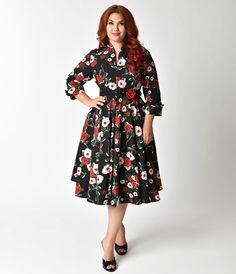 Unique Vintage 1940s Style Black Floral Half Sleeved Hudson Shirt Dress