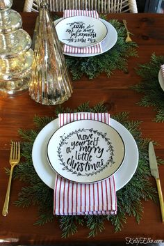 Christmas Home Tour - love this table with red striped napkins fromHomeGoods layered over cedar placemats! Christmas Plates, Noel Christmas, Merry Little Christmas, All Things Christmas, White Christmas, Christmas Lights, Rustic Christmas, Christmas Wreaths, Christmas Crafts