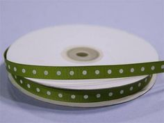 """3/8"""" Grosgrain Polka Dot - Moss/Willow / Such a hip unison of two most popular and favorite styles; Peppy Polka Dots and Gorgeous Grosgrain! Grosgrain ribbon is one of the most preferred and demanded ribbons for decorations, embellishments, crafting, and accenting purposes. Premium quality nylon, cotton, and synthetic fabric materials are used to craft this plain weave corded fabric with a textured appearance and a sturdy look. Now, with added elegance and classiness of polka dots accent, this f Organza Ribbon, Grosgrain Ribbon, Plastic Tablecloth, Holidays And Events, Fabric Material, Craft Gifts, Decor Crafts, Polka Dots"""