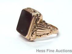 Massive Vintage 14k Rose Gold Filigree Sardonyx Signet Mens Ring 1930s Size 11.5