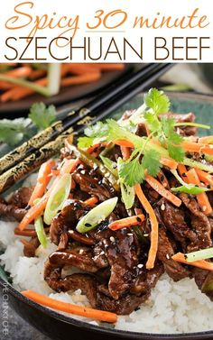 No need to order take-out, this spicy ginger Szechuan beef is completely mouthwatering and ready in just 30 minutes! Perfect for a busy weeknight dinner! Chinese Beef Recipes, Asian Recipes, Healthy Recipes, Chinese Food, Asian Foods, Thai Ginger Beef Recipe, Spicy Asian Beef, Oriental Recipes, Oriental Food