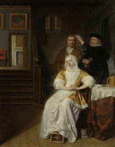 Samuel van Hoogstraten | 'The Anemic Lady', Samuel van Hoogstraten, 1660 - 1678 | 'De bleekzuchtige dame'. Interieur met een zieke jonge vrouw zittend op een stoel naast een tafel voor een bedstee. Onder haar voet heeft ze een stoof, rechts zit een kat. Achter de vrouw houdt een dokter een kolk met urine tegen het licht, naast hem staat een man. Links leidt een trap naar andere kamers, boven de deur hangt een schilderij. In de achterste kamer een haard met een mantelstuk.