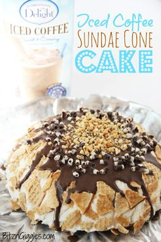 "Iced Coffee Sundae Cone Cake - This cake will bring back childhood memories of all of those yummy sundae cones you ate during the summer. . .now, with a ""grown-up"" twist! #IcedDelight"