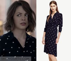 "Sarah Ellis (Conor Leslie) wears this long sleeved polka dot button front shirt dress in this episode of Shots Fired, ""Hour Rock Bottom"". It is the Ann Taylor Double Dot Long Sleeve Shirtdress. Conor Leslie, Double Dot, Shots Fired, Rock Bottom, Long Sleeve Shirt Dress, Shirtdress, Season 1, Ann Taylor, Polka Dots"