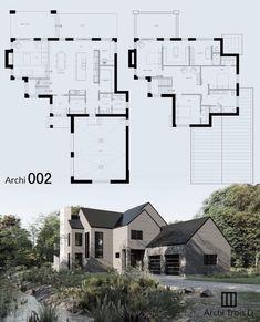 Contemporary House Plans, Facades, Modern Farmhouse, House Ideas, Floor Plans, Exterior, Flooring, How To Plan, Architecture