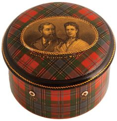 Thread box, shown with photo of Prince Edward, Duke of Wales and son of Victoria and Albert, and Princess Alexandra of Denmark, Duchess of Wales.