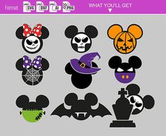 Mickey Mouse Pumpkin Stencil, Minnie Mouse Pumpkin, Mickey Mouse Halloween, Disney Pumpkin, Mickey Ears, Halloween Images, Halloween Crafts, Halloween Cookies, Halloween Nails