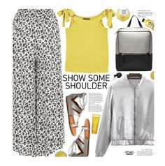 """""""Yoins: Show Some Shoulder"""" by beebeely-look ❤ liked on Polyvore featuring MANGO, Soveral, too cool for school, Clarins, floral, springfashion, bomberjackets, yoinscollection and showsomeshoulder"""