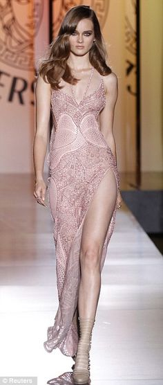 blush Versace high slit gown- I hope I can afford to wear something like this someday