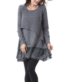 Another great find on #zulily! Gray Lace-Trim Tiered Tunic #zulilyfinds
