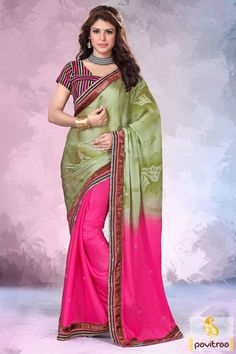 Look vivacious with this best ever pink olive printed saree for special occasion. It is graceful and trendy with nice stones on it and chic shaded material.  #printedsaree, #dailywearsaree. #casualsaree, #onlinesarees, #fancyblouse, #pearchcolorsaree http://www.pavitraa.in/store/casual-saree/