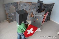 Homemade castle, shield, tunic & helmet (German website)