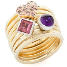 Spring Ring with Diamond, Tourmaline and Amethyst Sliders - Ariane Rocher Jewellery ~Yum, yum! Perfect for Valentines Day, hint, hint.