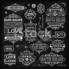 Hand Drawn Chalk Vintage Label Set royalty-free stock vector art