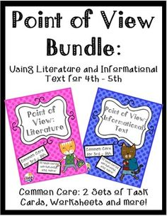 Lots of focused point of view practice for 4th and 5th graders in this 94 page bundle! Both Point of View using Literature and Informational Text are included. This unit is loaded with worksheets, posters, 2 sets of task cards and more! $