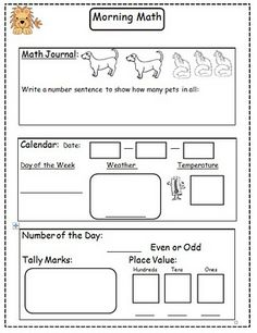 First Grade Morning Math on envision math worksheets