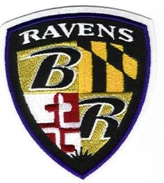 """Baltimore Ravens Shield Team Patch - Iron On or Sew On - 3"""" wide x 3 1/2"""" tall by National Emblem. $12.95. This is the official Baltimore Ravens Team Patch."""