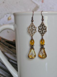 Copper Dangle Earrings with Czech Crystal White by SmockandStone, $17.00