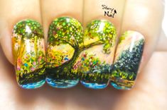 Fairy Forest Freehand Nail Art