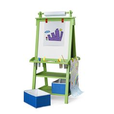 The Little Partners Deluxe Learn and Play Art Center Easel Includes a Chalk Board & Magnetic, Dry Erase Board, Four Non-Spill Paint Containers, Two Large Fabric Folding Storage Bins, One Roll of Paper, and Eraser - Hang parchment paper, use dry erase markers, crayons, paint or any other way to l