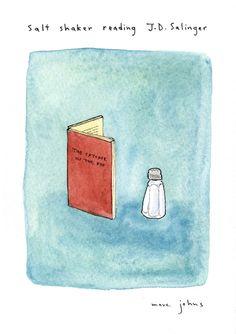 Un salino che legge Il giovane Holden. Marc Johns