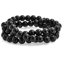 Bling Jewelry Bling Jewelry 3 Set Of Stackable Onyx Gemstone Bead... ($16) ❤ liked on Polyvore featuring jewelry, bracelets, black, gemstone bangle, onyx jewelry, holiday jewelry, stretch charm bracelet and stacked bracelet set