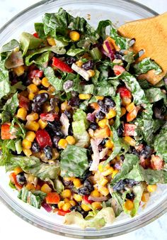 Black Bean Taco Salad Recipe, Taco Salad Recipes, Healthy Salad Recipes, Taco Salads, Black Bean Recipes, Mexican Bean Salad, Mexican Salad Recipes, Salsa Recipe, Taco Salad Dressings