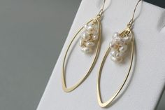 Gold Pearl Earrings Bridesmaid Gifts by bellezamia on Etsy, $33.00