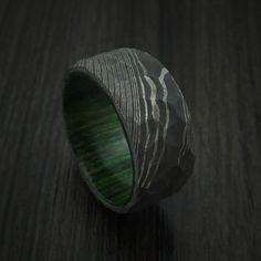 Damascus Steel Rock Hammer Ring with Jade Wood Sleeve Custom Made