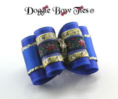 Full Size Royal Blue and Embroidered floral band Show Dog Bow by Doggie Bow Ties!