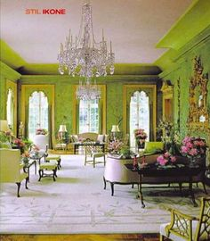 "William Haines' legendary ""garden room"" at Winfield House, the U.S. Ambassador's residence in London. Gorgeous apple green chinoiserie!"