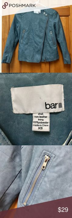 Blue Moto Jacket Dusty blue faux leather Moto jacket by Bar III from Macy's size XS. This is so stylish! Excellent condition. Item comes from a smoke-free home with pets. If you have any questions, please ask. Thanks for looking! Bar III Jackets & Coats