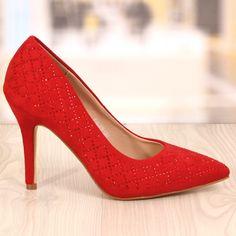 Poze Pantofi Stiletto Rosii cu Strasuri Cod: 785