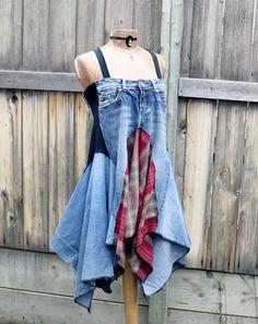Broken Ghost Clothing — Hippie Jean Dress Flowing Layers Lagenlook Clothing Denim Blue Kerchief Sundress M