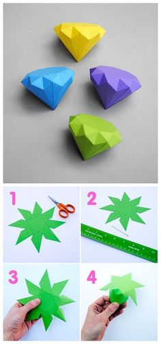 54 Ideas for origami diamond diy paper Diy Origami, Origami And Kirigami, Origami Tutorial, Oragami, Geometric Origami, Origami Paper Art, Cute Crafts, Diy And Crafts, Arts And Crafts