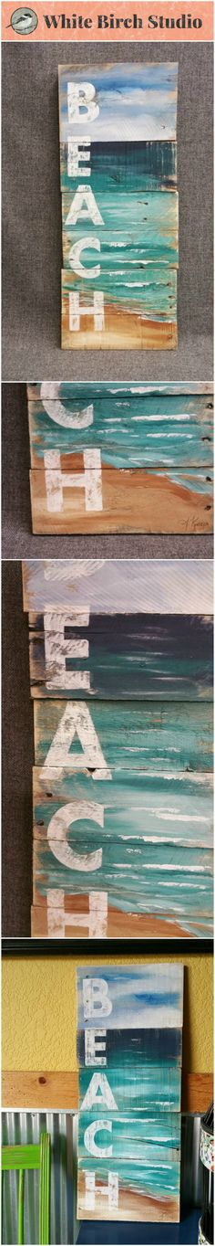 Reclaimed Wood Pallet Art, Hand painted seascape with BEACH wording, Beach, Cottage, upcycled, Wall art, Distressed, Shabby Chic  Acrylic painting on reclaimed pallet wood. This unique piece is 9 in wide x 22 in.   A nice, summer touch to a front porch, camping trailer, or cottage.