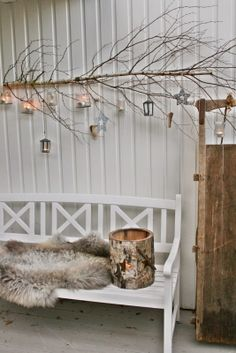 so sweet, love the branch and of course the skin on the bench. from VIBEKE DESIGN
