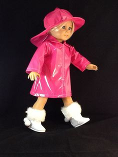 American Girl size Hot Pink Rain Slicker with by GSRdolls on Etsy, $18.00