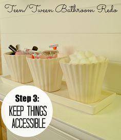 Tween/Tween Bathroom Redo - 5 Ways to Create a Space YOUR Teen Will Love! -- Tatertots and Jello Girls Bathroom Organization, Bathroom Storage, Bathroom Ideas, Teen Bathrooms, Family Bathroom, A 17, My New Room, Bathroom Furniture, Tween