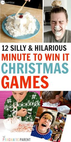 12 Best Minute to Win it Christmas Games for Kids & Adults. Hilarious games with. - 12 Best Minute to Win it Christmas Games for Kids & Adults. Hilarious games with minimal supplies, - Minute To Win It Games Christmas, Preschool Christmas Games, Christmas Games For Adults, Christmas Games For Family, Holiday Games, Holiday Fun, Christmas Crafts, Christmas Games For Preschoolers, Minute To Win It Games For Adults