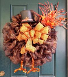 Thanksgiving Turkey Mesh Wreath on Etsy, $68.00