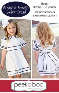 Peek-a-Boo Pattern Shop — Anchors Aweigh Sailor Dress EASTER white on white